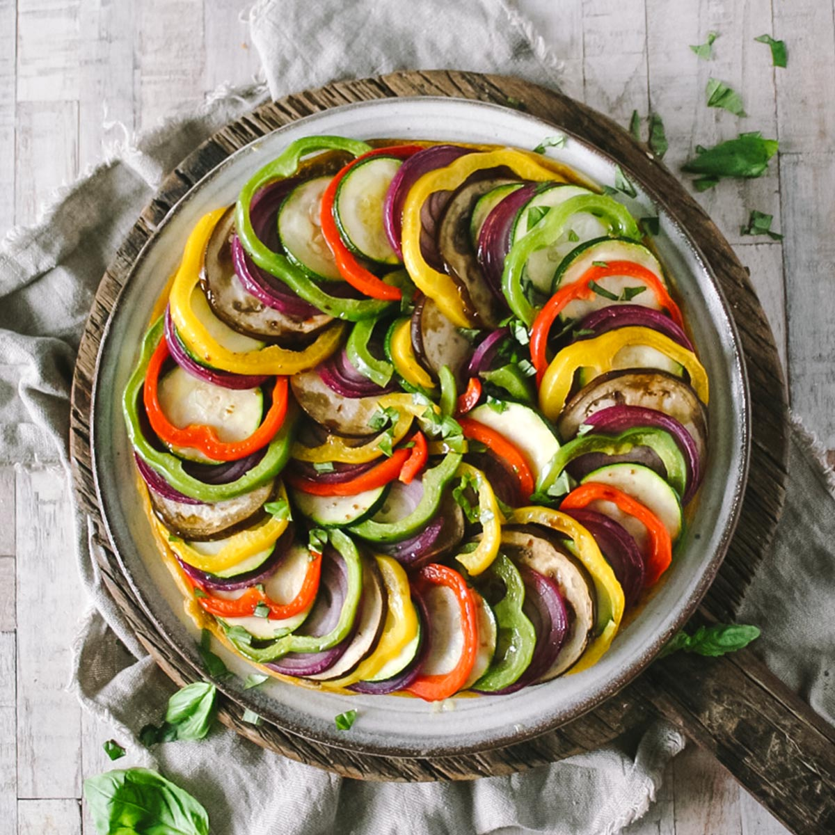 Layered Pesto Ratatouille Tart