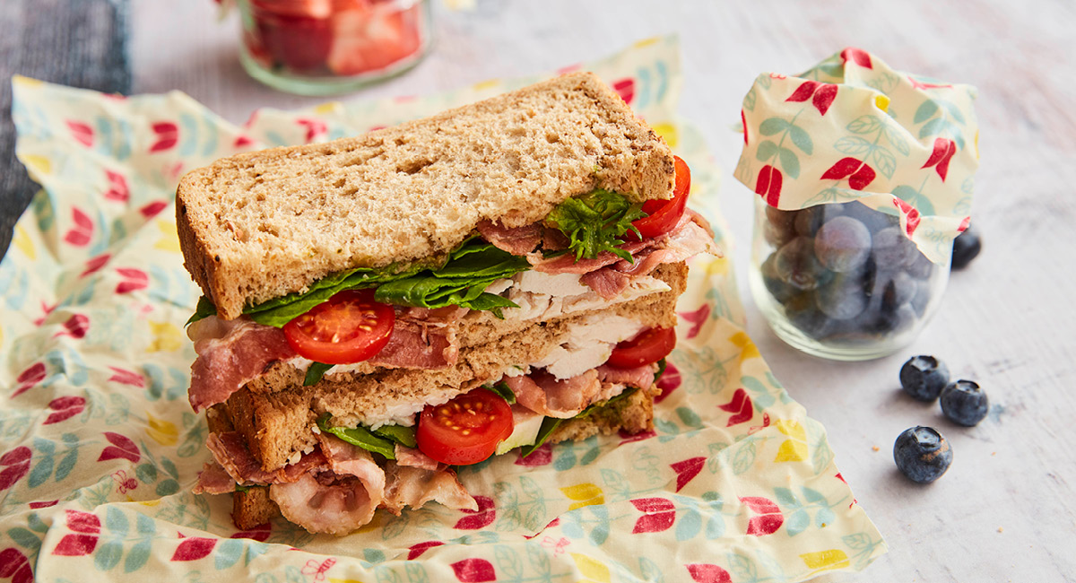 A BLT Sandwich that has been wrapped in the BeeBee Wraps