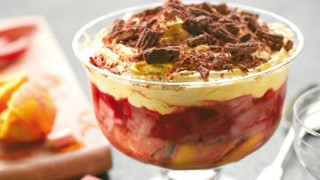 Cointreau, Rhubarb and Orange Trifle served in a glass dish