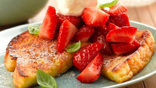 French Toast Topped with Lemken Strawberries, served with whipped cream