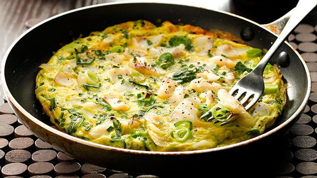 Open Smoked Haddock and Leek Omelette Recipe