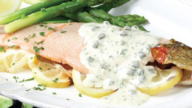 Rainbow Trout with Lemon & Capersserved with Asparagus and Hollandaise Sauce