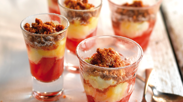 Rhubarb and Lemon Curd Pots served in glasses topped with icing sugar