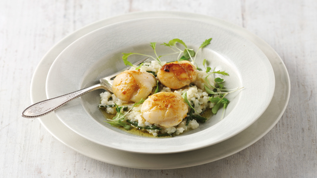 Curried Scallops with Cauliflower and Samphire Risotto served in a whie dish on top of a grey plate