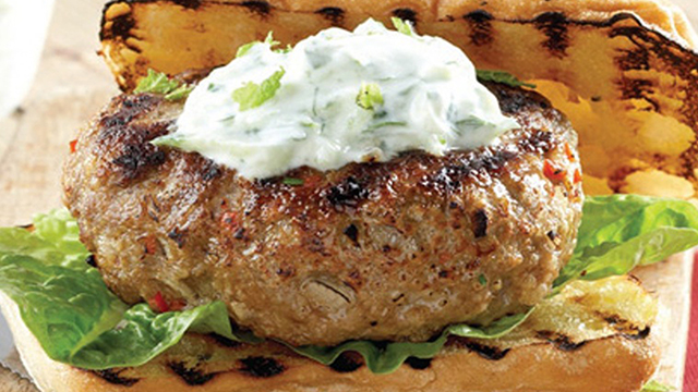 Spicy Lamb Burgers with Tzatziki served on a Toasted Ciabatta Bun