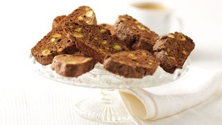Chocolate and Pistachio Biscotti served on a glass serving tray