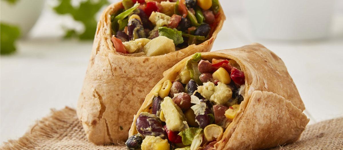 vegan mexican bean wrap