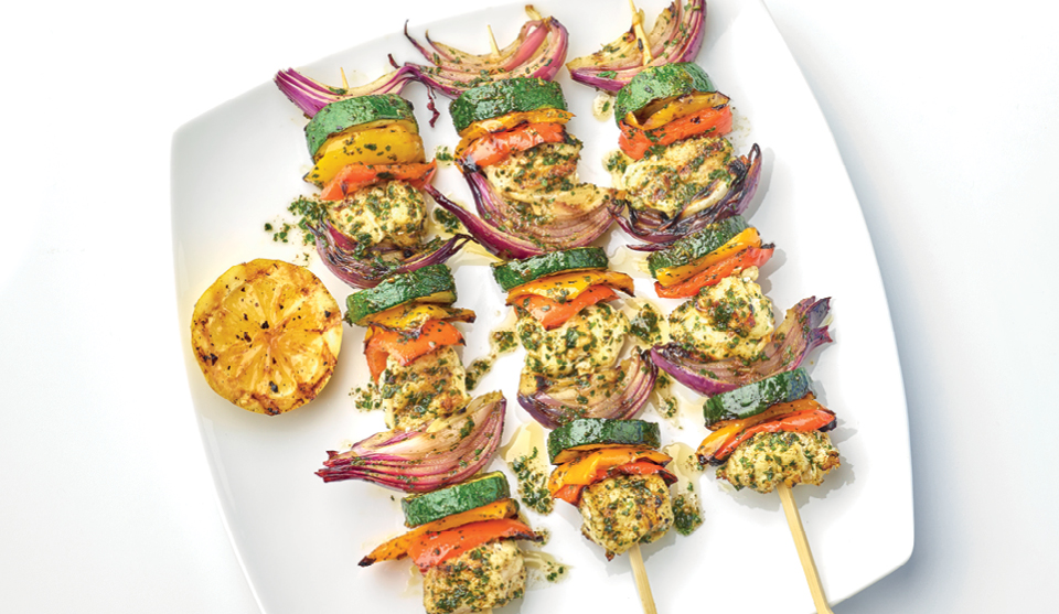 Fish Kebabs with Chermoula Sauce