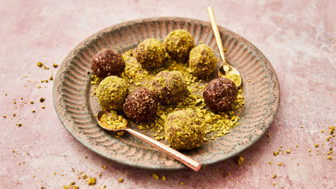 peanut butter and chocolate power balls