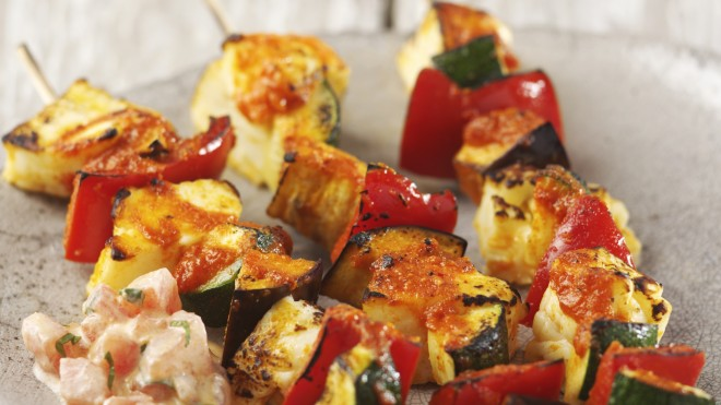 Harissa Spiced Vegetable and Halloumi Skewers with a light salad