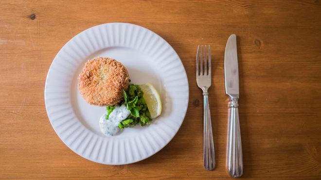 Fishcake on a white dish