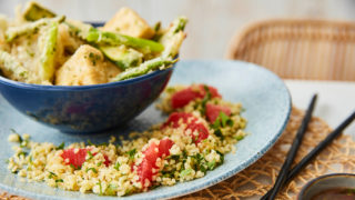 Tempura Tofu with Grapefruit Tabbouleh