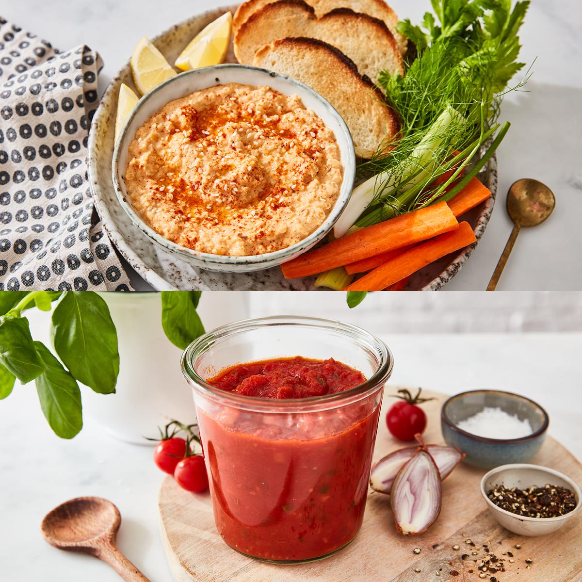 Red Pepper Hummus & 5 Min Tomato Sauce