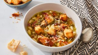White Bean Soup with Bacon & Croutons