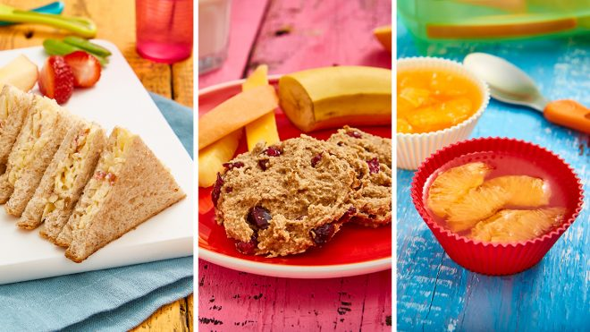 Easy as A, B, C Lunchbox Ideas including apple ploughman's sandwhich, banana oatcakes and clementine jelly