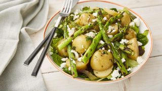 Asparagus with Jersey Royal Potatoes and Wild Garlic Salad served with Feta Cheese