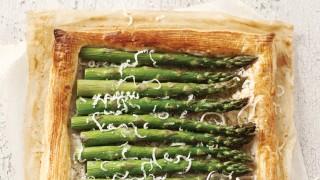 Asparagus Tart with Black Olive Dressing served on baking parchment