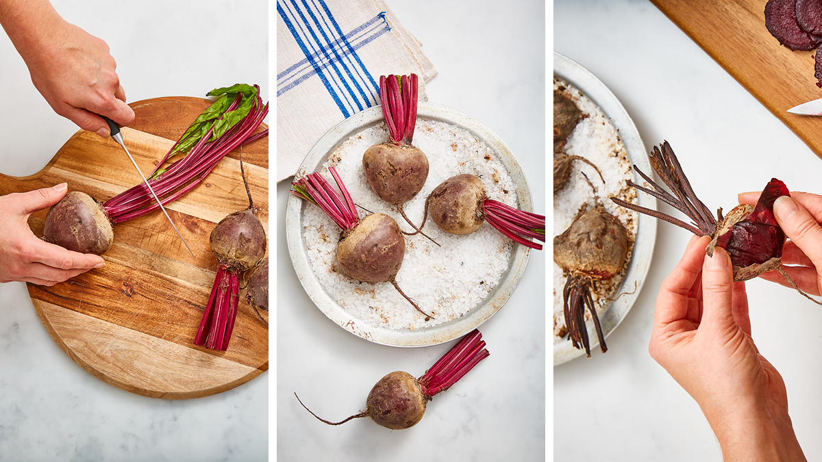 Roasted Beetroot Easy as 1,2,3 being chopped on a board, on a roasting tin and then being peeled on a plate