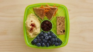 Carrot Pitta with Houmous Dip Lunchbox with various fruit snacks
