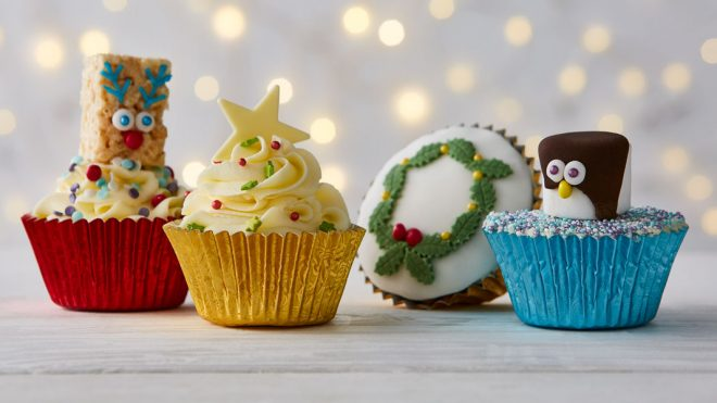Children's Christmas Cake Cupcakes with various decorations