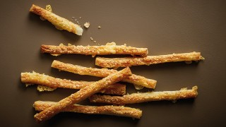Lancashire Cheese Straws served in a stack