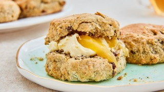 Earl Grey Tea Scones served with lemon curd and whipped cream
