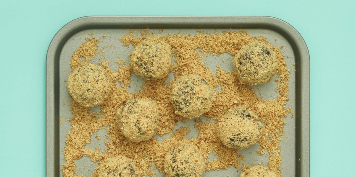 Dad's Super Powered Energy Balls served on a baking tray