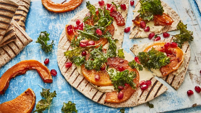 Flatbread 'Pizza' with Houmous, Squash and Kale with pomegranate seeds