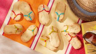 Flip Flop Cookies on a beach towel