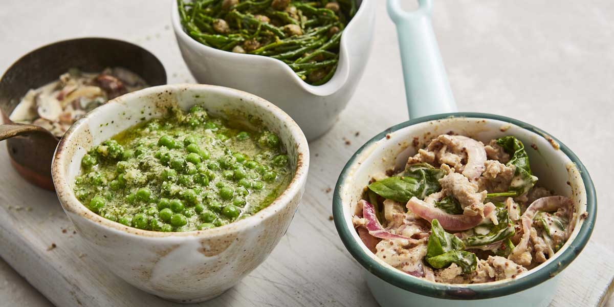 4 bowls containing 4 Easy Pasta Sauces including Pea and Pesto