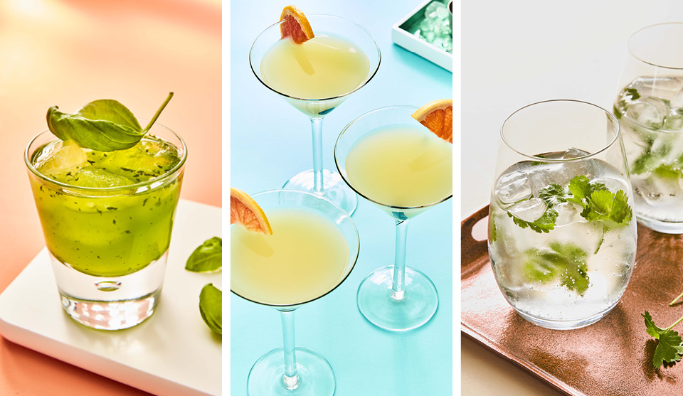 Summer Time Gins, served in a range of glasses and with a range of garnishes