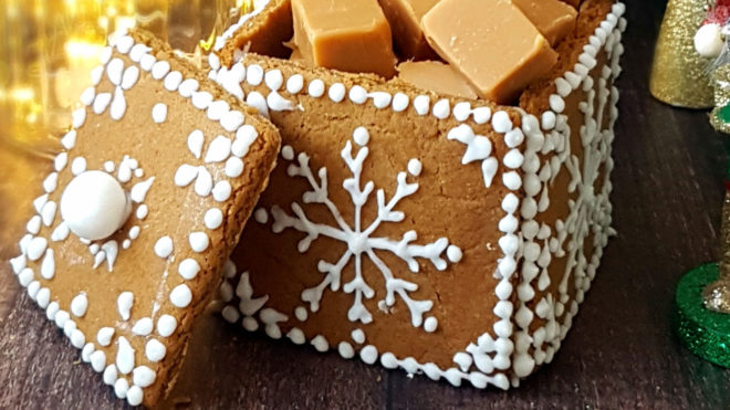 Gingerbread Gift Box, decorated with white icing in a festive decoration