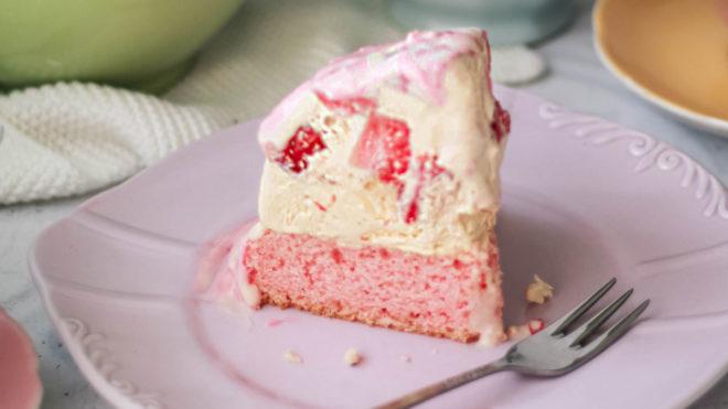 Slice of ice cream cake served on a plate