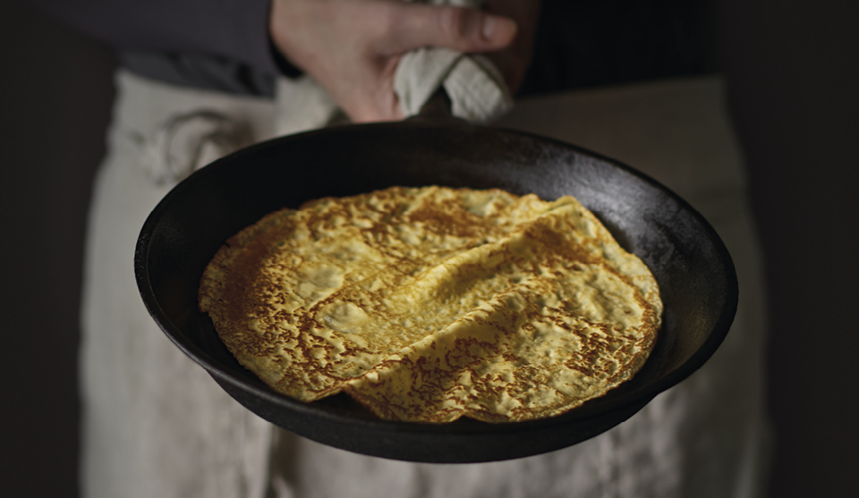Perfect pancakes in a frying pan