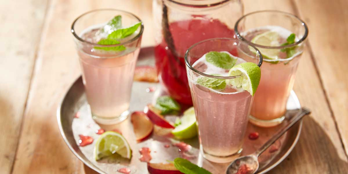 Plum Cordial served in three glasses with ice, mint sprigs and lime wedges
