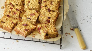 Quinoa and Cranberry Snack Bars on a cooling rack