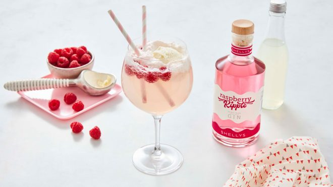 Raspberry Ripple Gin Float served in a gin glass, with Shelly's raspberry ripple, fresh raspberries and an ice cream scoop