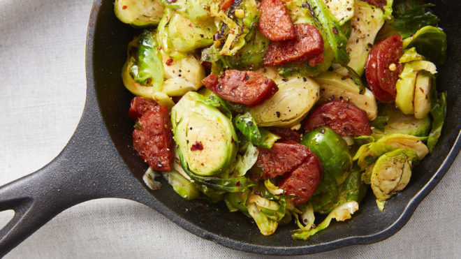 Sauteed Sprouts with Chorizo, Chilli and Garlic served in a sautee pan