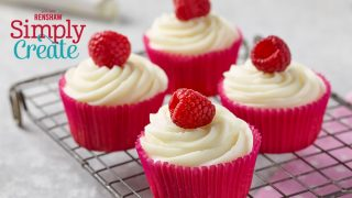 Renshaw's Raspberry and White Chocolate Cupcakes served on a cooling rack
