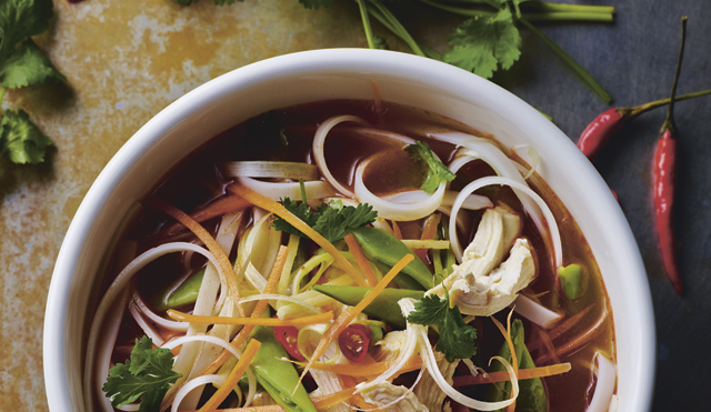 Hot and Sour Turkey Noodle Broth served in a white bowl