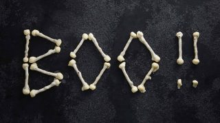 Halloween White Chocolate Bones spelling out the word BOO